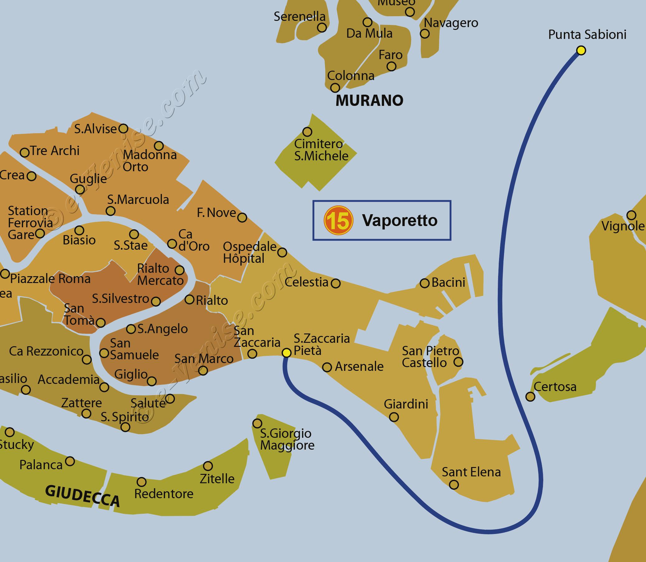 Carte Venise Et Alentours.Lignes Vaporetto Venise Actv Alilaguna E Venise Com