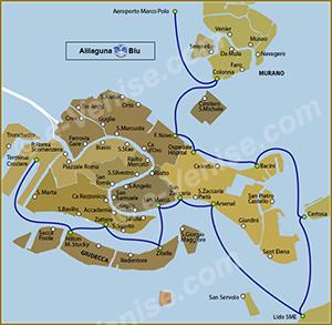 Plan de la Ligne Alilaguna Blu à Venise ACTV